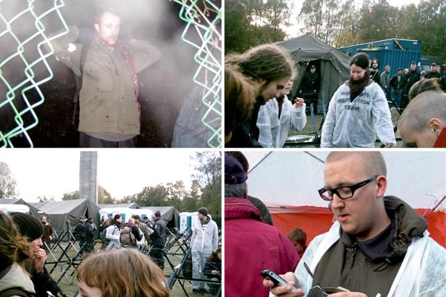 4 olika bilder på aktivister inne på SHAPE.