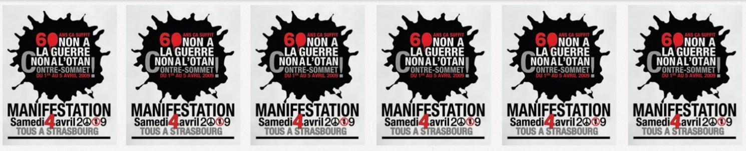 """Flera affischer med text:  """"60 ans ca suffit. Non a la guerre, non a l'Otan Contre-sommet..."""""""