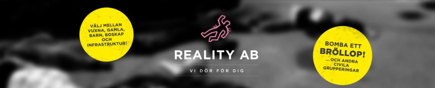 """Reality AB:s logotyp: En rosa siluhett och texten """"Reality AB - vi dör för dig!"""""""