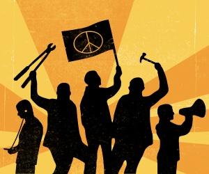 Grafik: Silhuetter av demonstranter mot en gul-orange soluppgång